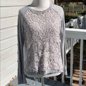 Pieces Kensie gray crochet sweater top MED